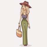 Hand drawn fashion girl illustration Stock Images