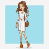 Hand drawn fashion girl illustration Royalty Free Stock Photos