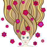 Hand drawn fashion girl like forest fairy with long hair and flo royalty free illustration