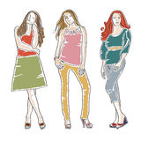 Hand drawn fashion girls Royalty Free Stock Photo