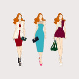 Hand drawn fashion girls. Stock Photography