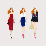 Hand drawn fashion girls. Vector Stock Images