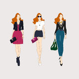Hand drawn fashion girls. Royalty Free Stock Image