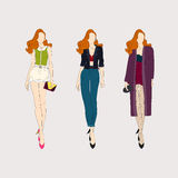 Hand drawn fashion girls. Royalty Free Stock Images