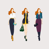 Hand drawn fashion girls. Royalty Free Stock Photography