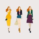 Hand drawn fashion girls. Vector Royalty Free Stock Photography