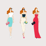 Hand drawn fashion girls. Stock Images