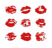 Hand drawn fashion illustration lipstick kiss. Female vector card with red lips. Hand drawn fashion illustration lipstick kiss. Female card with red lips Stock Illustration