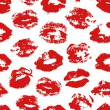 Hand drawn fashion illustration lipstick kiss. Female vector seamless pattern with red lips. Romantic vector background. Hand drawn fashion illustration lipstick Royalty Free Illustration
