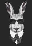 Hand drawn fashion Illustration of rabbit. Vector isolated elements Stock Image