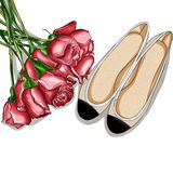 Hand Drawn Fashion Illustration - Rose Bouquet and a pair of ballerina shoes Stock Images