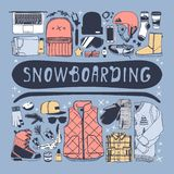 Hand drawn Fashion Illustration Snowboarding Things. Creative ink art work. Actual cozy vector drawing with Rider`s Items. Winter