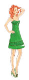Hand-drawn fashion model in green dress Stock Photos