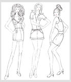 Hand-drawn fashion model  illustration set Stock Photos