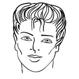 Hand-drawn fashion model. Man face Stock Image