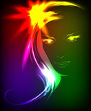 Hand-drawn fashion model from a neon. A light girl's face Royalty Free Stock Photos