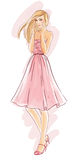 Hand-drawn fashion model in pink dress Royalty Free Stock Images