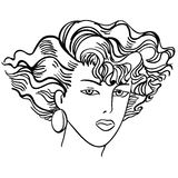 Hand-drawn fashion model.Woman's face Royalty Free Stock Images
