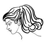 Hand-drawn fashion model.  Woman's face Stock Photo