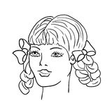 Hand-drawn fashion model. Woman's face Royalty Free Stock Photography