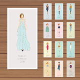 Hand drawn fashion models calendar 2016.. Each month girl in a new image. Vector illustration Stock Images