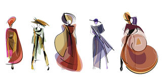 Hand drawn fashion models. sketch. Hand drawn sketch  of fashion models Royalty Free Stock Images