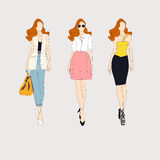 Hand drawn fashion models. Royalty Free Stock Image
