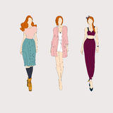 Hand drawn fashion models. Royalty Free Stock Photo