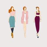 Hand drawn fashion models. Royalty Free Stock Photo