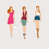 Hand drawn fashion models. Royalty Free Stock Images