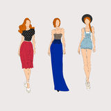 Hand drawn fashion models. Stock Photo
