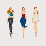 Hand drawn fashion models. Royalty Free Stock Image
