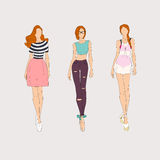 Hand drawn fashion models. Stock Image