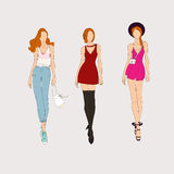 Hand drawn fashion models. Royalty Free Stock Photography