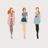 Hand drawn fashion models. Stock Images