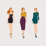 Hand drawn fashion models. Vector illustration Royalty Free Stock Photo