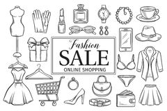 Hand drawn fashion online shop icons set. Stock Photography