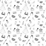 Hand drawn Fashion seamless pattern for adult coloring pages  Stock Photography