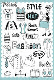 Hand drawn Fashion Set 02. Vintage fashion illustration with shopping related words in hand drawn style and on the grid background Stock Photo