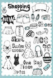 Hand drawn Fashion Set 01. Vintage fashion illustration with shopping related words in hand drawn style and on the grid background Royalty Free Stock Image