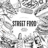 Hand drawn fast food banner. Street food bakery. Burger, hot dog, french fries, pizza, coffee, soda, bagel, donut. Waffel. engraved vector illustration vector illustration