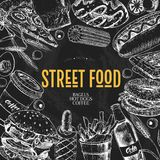 Hand drawn fast food banner. Street food bakery. Burger, hot dog, french fries, pizza, coffee, soda, bagel, donut vector illustration