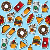 Hand drawn fast food colored pattern Stock Photos