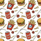 Hand drawn fast food doodle pattern Royalty Free Stock Photo
