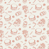 Hand drawn fast food doodle pattern Stock Photos