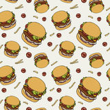 Hand drawn fast food doodle pattern Stock Image
