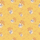Hand drawn fast food doodle pattern Stock Photo