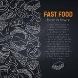Hand drawn fast food stock illustration
