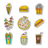 Hand drawn fast food icons sticker set. Food doodles elements Stock Photography