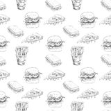 Hand drawn fast food pattern. Burger, pizza, french fries detailed illustrations. Great for restaurant menu or banner Royalty Free Stock Photo